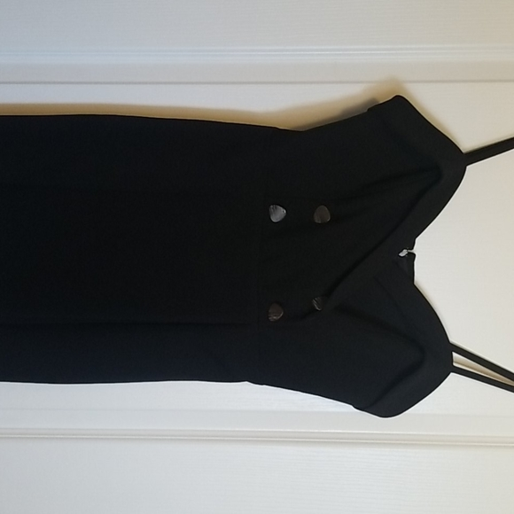 Topshop black mini dress with buttons